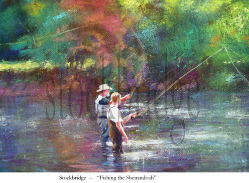 pastel fishing scene by Stockbridge